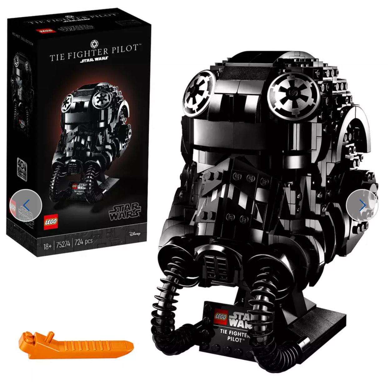 LEGO Star Wars 75274 TIE Fighter Pilot Helmet Display Set - £45 Free Click & Collect at Argos