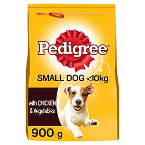Pedigree Dry Food, Adult, Small Dogs 5-10 kg, with Chicken and Vegetables 5 x 900g Dog Food - £4 prime / £9.49 nonPrime at Amazon