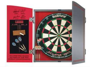 Unicorn World Championship Dartboard, Cabinet & 2 Darts Sets Now £48 with Free Click and collect from Argos