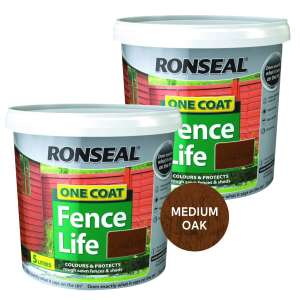 2 x 5L One Coat Fencelife Medium Oak or Forest Green (Ready Mixed) £12 at Brewers