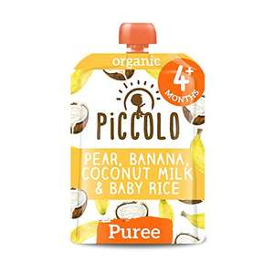 Piccolo Organic - Baby Food - 4 Months+ Pear, Banana, Coconut Milk & Baby Rice Puree - Pack of 5 x 100g £2.94 Amazon Prime (+£4.49 NP)