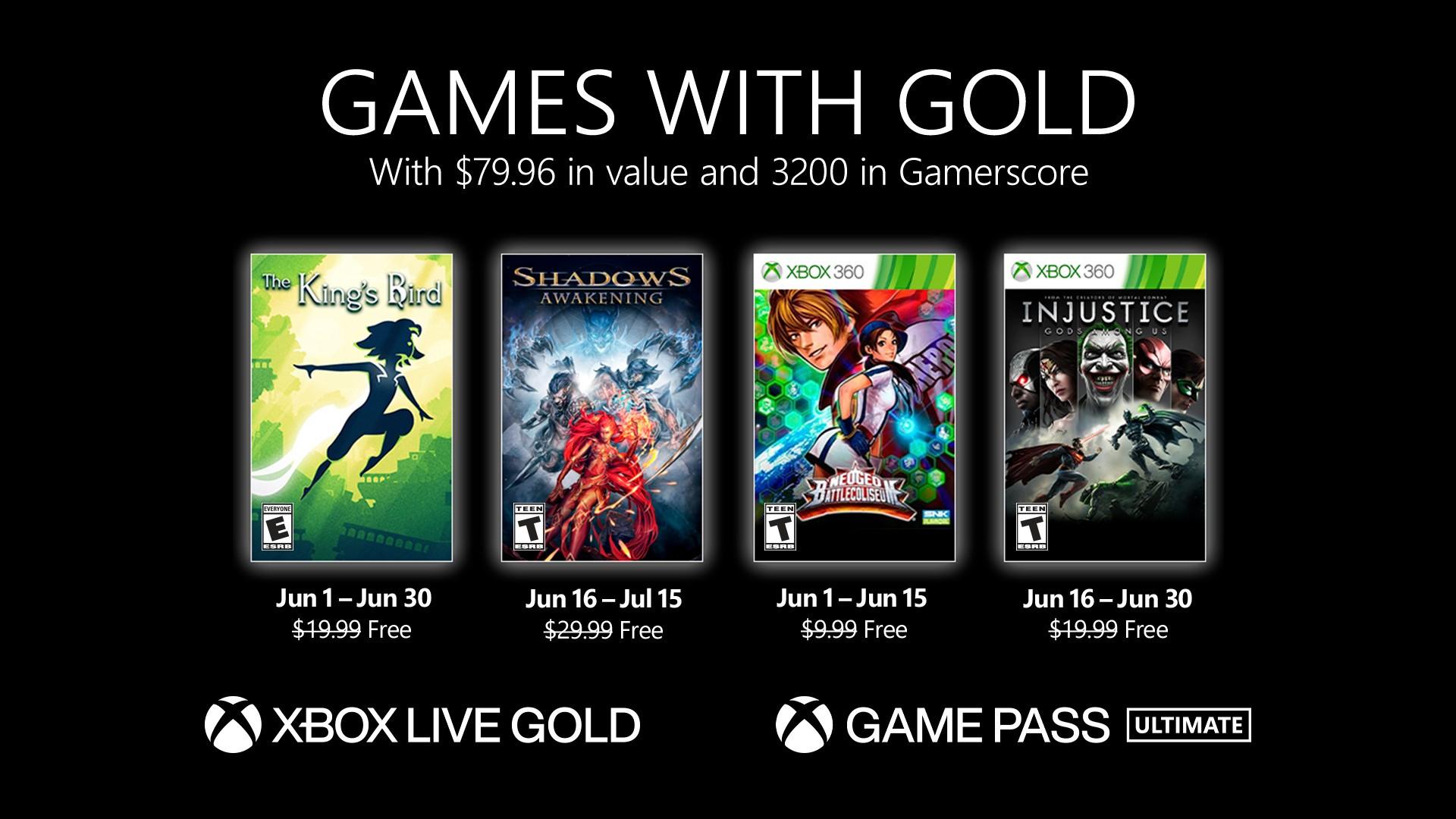 Xbox Games with Gold (June 21) - The King's Bird, Shadows Awakening, NeoGeo Battle Coliseum & Injustice Gods Among Us