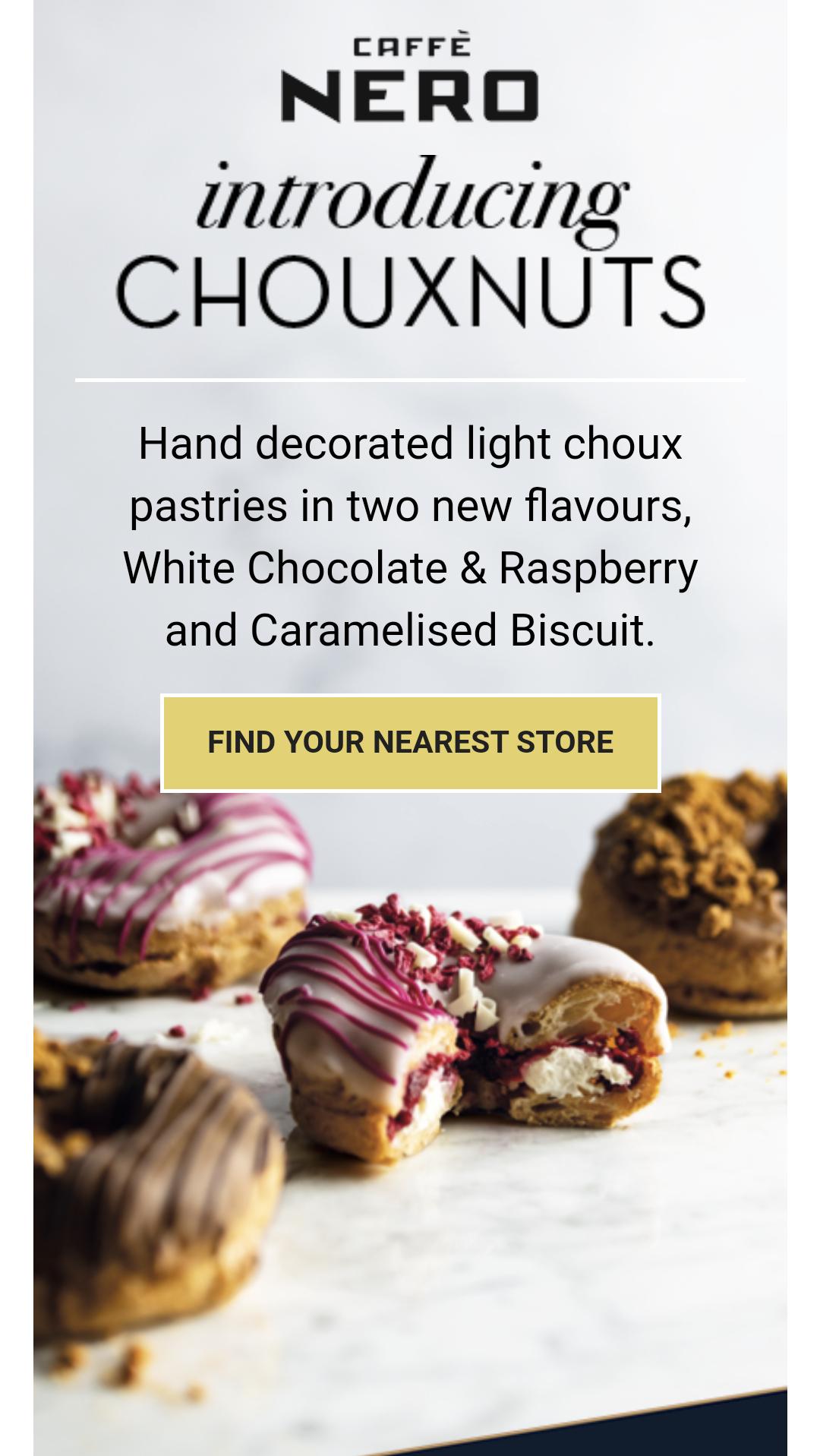 Buy a chouxnut via the app and get a bonus stamp @ Caffè Nero