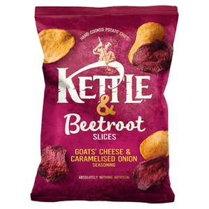 Kettle & Beetroot Slices with Goats' Cheese & Caramelised Onion Sharing Crisps 69p at Home Bargains Newtownabbey