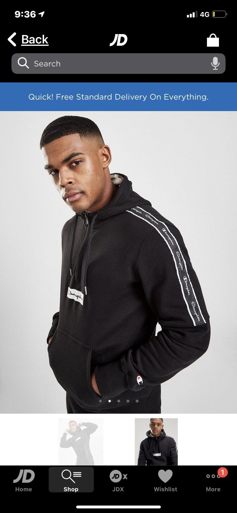 Champion half zip logo hoodie - £35 (+£3.99 Delivery) @ JD Sports