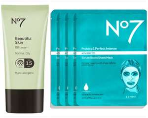 Deal Stack: 1/2 price & 3 for 2 on No7 Beautiful Skin BB Creams & Protect Perfect Sheet Face masks (£1.50 collection) @ Boots