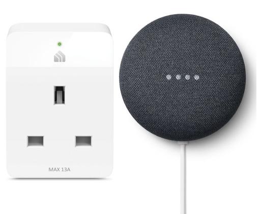 GOOGLE Nest Mini (2nd Gen) & Kasa KP105 Slim WiFi Smart Plug Bundle - Charcoal £39 @ Currys PC World