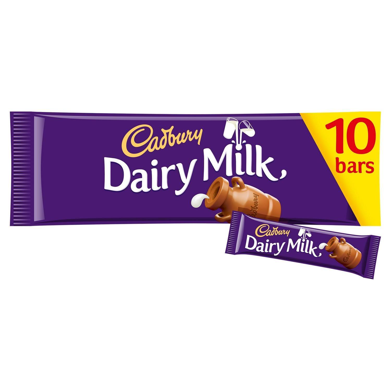 Cadbury Dairy Milk 29g x 10 bars multi pack for £2 at Sainsbury's