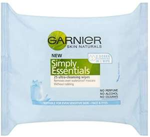 Garnier Skin Naturals Simply Essentials Ultra-Cleansing Wipes (25 Wipes) £1.50 @ Amazon (£4.49 p&p non prime) £1.28/£1.43 s&s