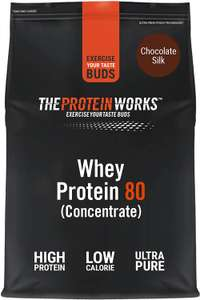 THE PROTEIN WORKS Whey Protein 80 (Concentrate) Powder Chocolate Silk 1kg - £10.78 (+£4.49 postage non prime) @ Amazon