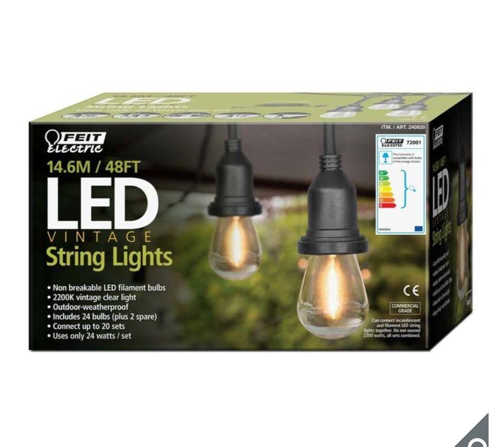 Feit 48ft (14.6 m) LED Indoor/Outdoor Weatherproof String Lights Set - £53.98 @ Costco warehouse