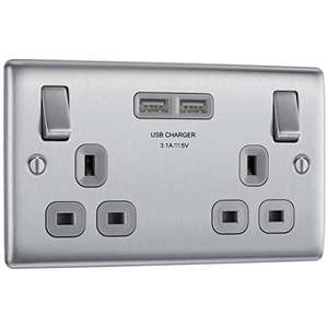 BG Electrical nbs22u3g Double Switched Fast Charging Power Socket with Two USB Charging Ports, 13 A, Brushed Steel £9.98 + £4.49 NP @ Amazon