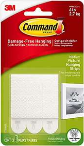 """3M Command Medium Picture Hanging Strips .5"""" X 2.75"""", 3 Pairs, White CAD17201ES £1.02 Used - Like New (+£4.49 Non-Prime) @ Amazon Warehouse"""