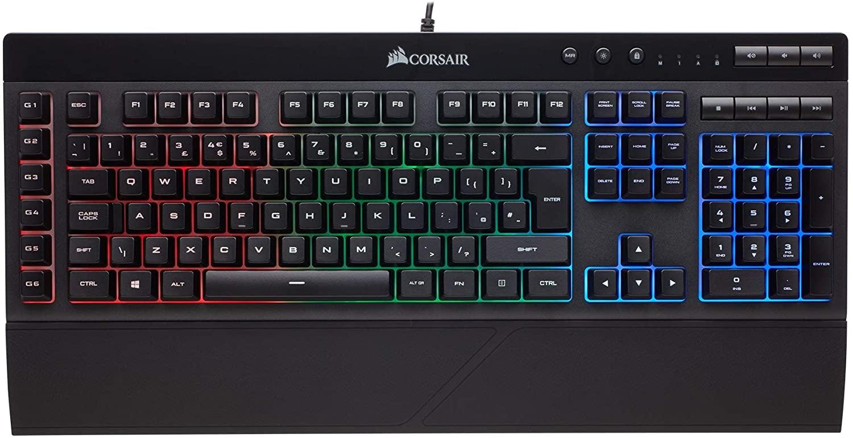 Corsair k55 RGB gaming Keyboard with programmable macro keys and media controls £32.28 at Amazon