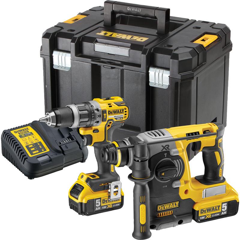 DeWalt 18V XR Brushless Combi & SDS Twin Kit 2 x 5.0Ah £349.98 at Toolstation - click & collect