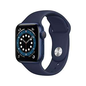 Apple Watch Series 6 GPS, 40mm Blue Aluminium Case with Deep Navy Sport Band - Regular for £342.60 at Amazon