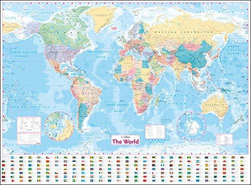 Collins World Wall Laminated Map - £2.75 (+£4.49 Non Prime) @ Amazon