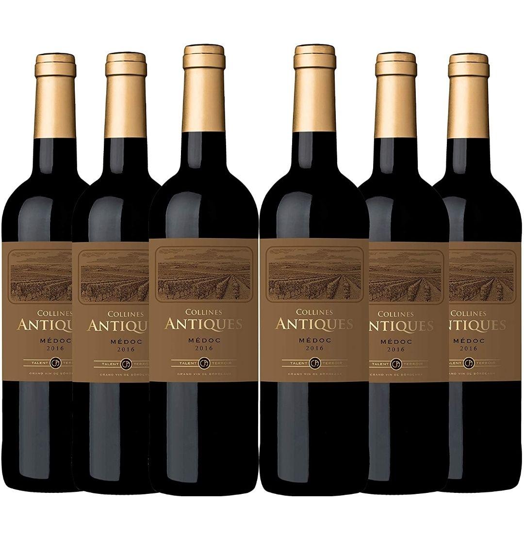 Collines Antiques Red Wine, Bordeaux Médoc Red Wine 2016, (6 x 750 ml) - £17.86 (£15.18 S&S) (+£4.49 nonPrime) at Amazon