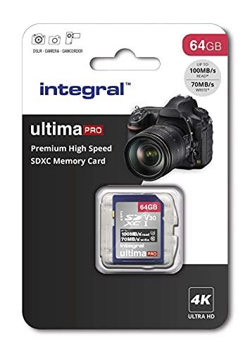 64GB - Integral Memory SDXC Card 4K Ultra-HD V30 UHS-I U3 C10 Video Premium High Speed Memory Card £4 Prime/+£4.49 Non Prime @ Amazon