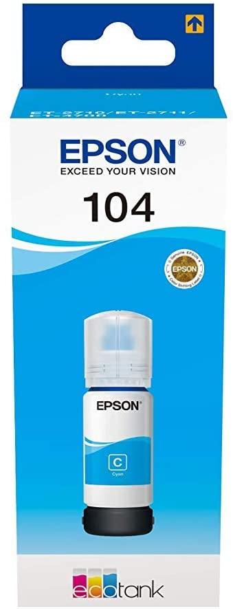 Epson EcoTank 104 Cyan Genuine Ink Bottle - £3.66 Prime / +£4.49 non Prime @ Amazon
