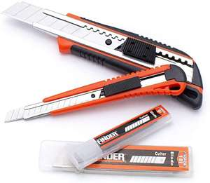Finder Utility Knives & Blades. 18mm + 9mm knives, 10 blades of each size £3.05 (+£4.49 non-prime) at Amazon