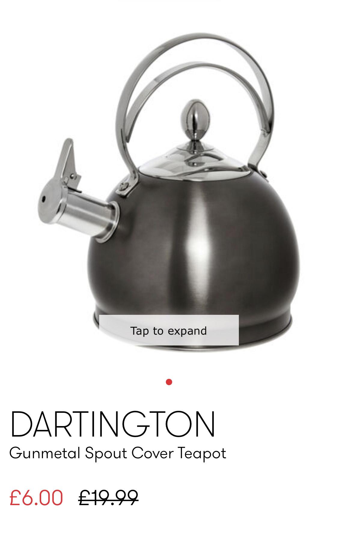 Dartington Gunmetal Spout Cover Teapot £9.99 delivered @ TKMaxx