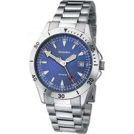 Sekonda Gents Blue Dial Silver Stainless Steel Bracelet Watch with date display - Just £20.69 using code at GB Watch Shop