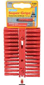Plasplugs SRP 502 Super Grips Fixings Red (100) for £1.72 (+£4.49 non-prime) @ Amazon