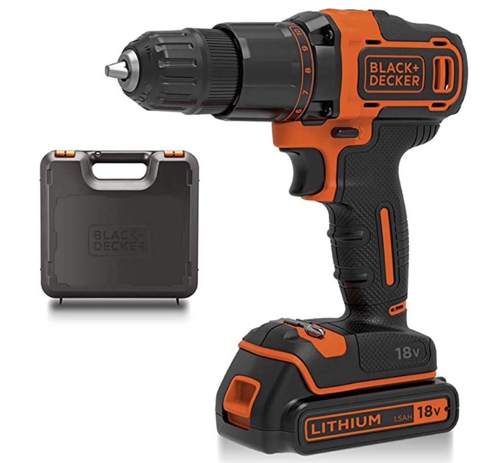 BLACK+DECKER 18 V Cordless 2-Gear Combi Hammer Drill Power Tool with Kitbox - £48 @ Amazon