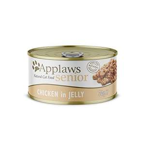 Applaws Natural and Complete Wet Cat Food for Senior Cats, Chicken in Jelly 70 g Tin (Pack of 24) - £10.70 (+£4.49 Non-Prime) @ Amazon