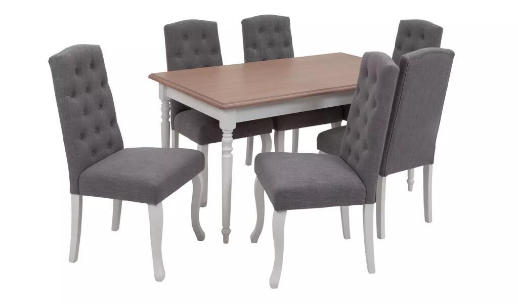 Argos Home Le Marais Oak Veneer Dining Table & 6 Grey Chairs - £333 @ Argos