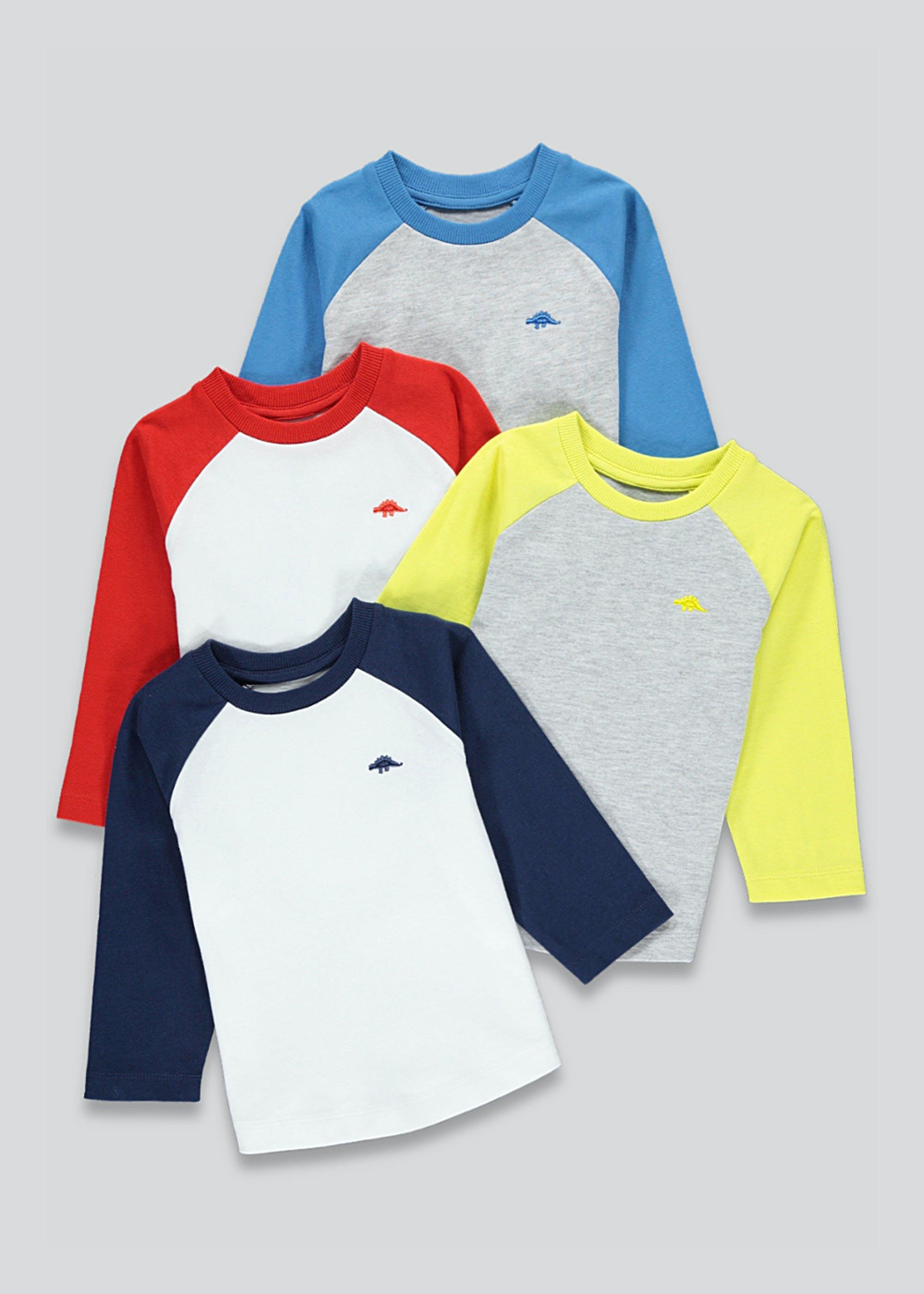 Toddler 4 Pack Long Sleeve Raglan T-Shirts Age 12-18 Months - £4.50 & Free Click & Collect @ Matalan
