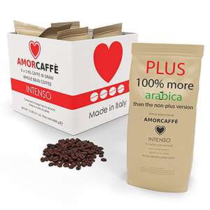 Amorcaffe Intenso PLUS taste Coffee Beans (6 Packs of 1kg) - 6 kg at Amazon 4.5£/kg - £26.99 - Sold by acaffe / Fulfilled by Amazon