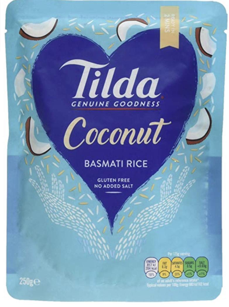 Tilda Steamed Basmati Coconut 250 g (Pack of 6) - £4.00 Prime or £3.80 S&S (+£4.49 non prime) @ Amazon