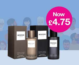 2 x Bespoke Men's EDP 100ml Fragrance - Half Price & Buy 1 Get 1 Free - Two For £4.75 - Free Click & Collect @ Superdrug