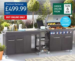 Premium BBQ with outdoor kitchen and sink for £499.99 (£9.99 delivery) at Aldi 13th June