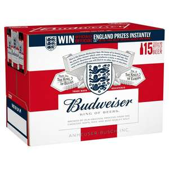 Budweiser Beer 15 X 300ml £8 at Sainsbury's