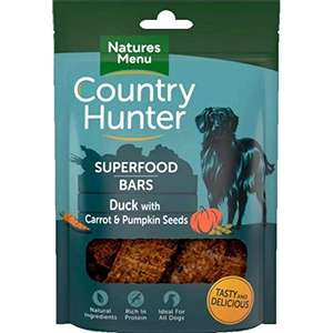 Natures Menu Country Hunter Superfood Bars Duck with Carrot & Pumpkin Seeds 7x100gm £9.47 (+£4.49 Non Prime) @ Amazon