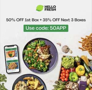 50% off 1st Box + 35% off Next 3 Boxes with code @ Hello Fresh