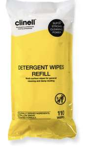 Clinell Detergent Wipes Refill - Alcohol and Disinfectant Free - Pack of 110 £1.69 (+£4.49 Non Prime) @ Amazon