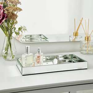 Faceted glass Silver mirror tray £5 at Dunelm free Click & Collect