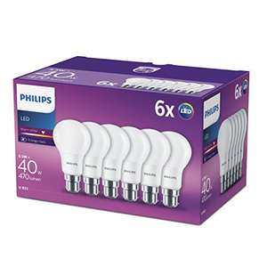 Philips LED B22 Frosted Light Bulbs 5.5W (40W) - Warm White, Pack of 6 [Energy Class A+] £10.99 (+£4.49 nonPrime) at Amazon