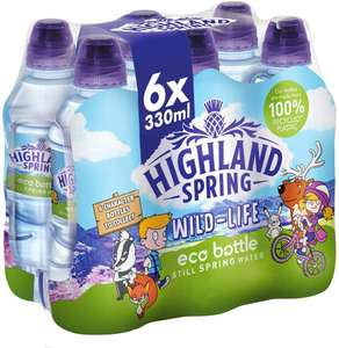 Highland Spring Kids Eco Bottle Still Water, 6 x 330 ml Sports Cap £1.25 (£4.49 p&p non prime) @ Amazon