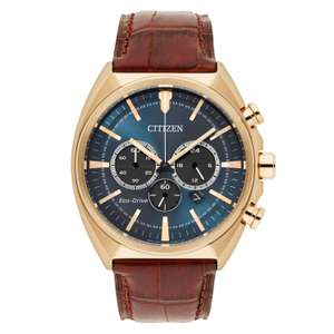 Citizen men's chronograph gold plated watch with brown leather strap for £127.20 delivered using code @ H Samuel