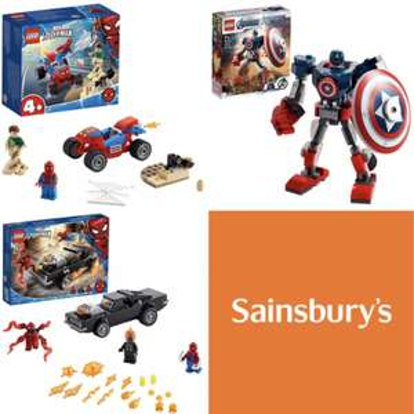LEGO Marvel 76173 Spiderman & Ghost Rider Vs Carnage £14.40, Marvel 76172 Sandman Showdown & 76168 Cap America Mech £7.20 each @ Sainsburys