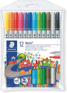 Staedtler Noris Club 320 NWP12 Fibre-Tip Pen with 2 Tips Pack of 12 in Soft Plastic Case £1.96 (£4.49 p&p non prime) @ Amazon