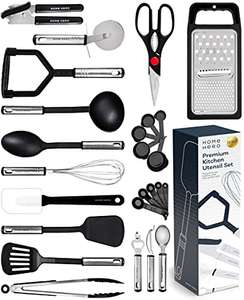Kitchen Utensil Set - 23 Pcs Nylon Cooking Utensils Set for Non Stick Pans Kitchen Set £12.99 delivered with voucher Sold by Yellapro FBA
