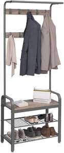 Vasagle HSR40MG Coat Rack Shoe Rack with Seat / Clothes Rack with 9 Removable Hooks / Bench 2 Grid Shelves - £34.39 @ Amazon