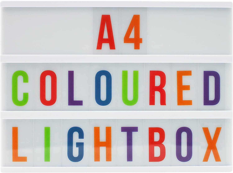Locomocean A4 Lightbox (White box, Colour letters) USB Power and Batteries, Cinema light - £4.38 (+£4.49 non prime) @ Amazon