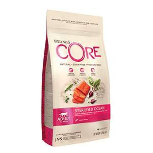 Wellness CORE Sterilised Cat Food Dry, Grain Free, Salmon, 1.75 kg £7.99 + £4.49 NP OOS but accepting orders @ Amazon